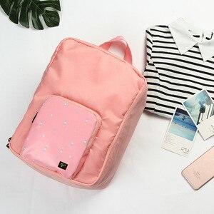 Image 2 - Saco de viagem dobrável mochila feminina à prova dwaterproof água saco de bagagem portátil oxford grande capacidade bolsa