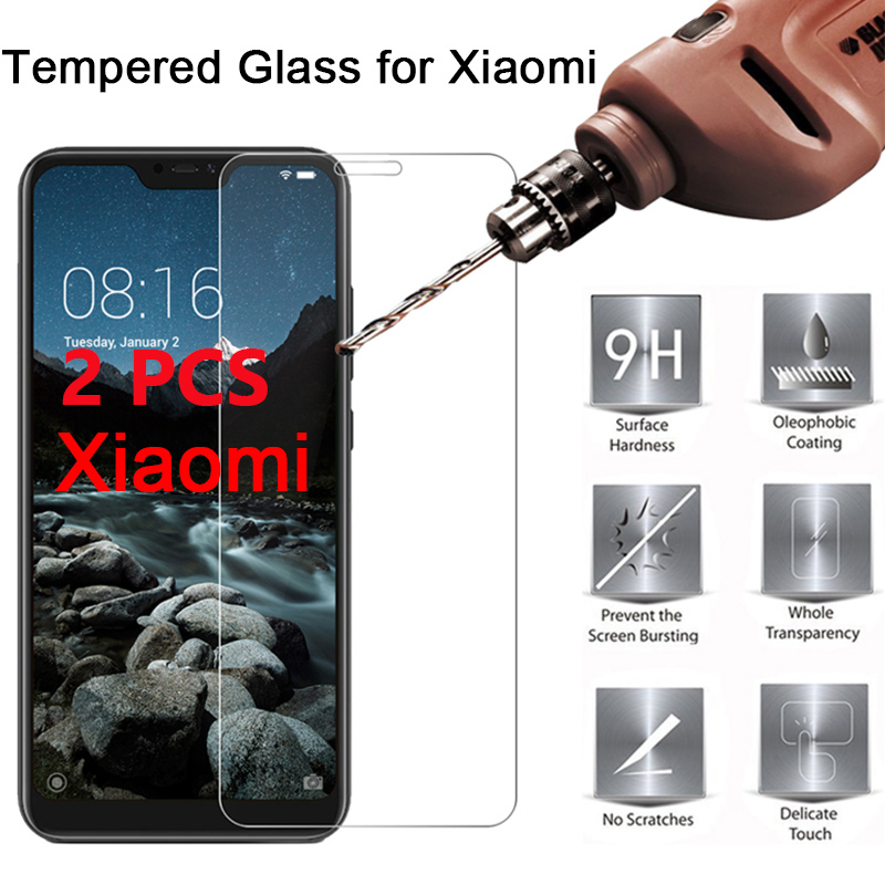 2PCS Toughed Tempered Glass For Xiaomi Pocophone F1 Screen Protector For Mi A2 Lite A1 Protective Glass For Mi 4S 4C 4I 3 4 2