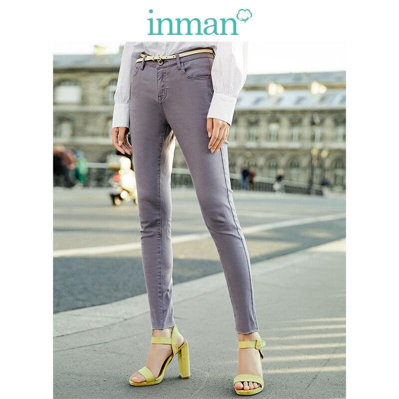 INMAN  Medium High Waist Slim Korean Fashion Slim All Matched Women Casual Pencil Pants