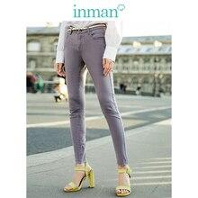 INMAN średnie talii Slim koreański moda Slim pasuje do wszystkiego kobiet spodnie ołówkowe na co dzień