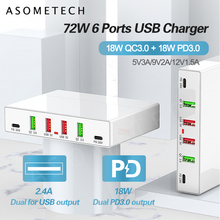 6 Ports PD Fast Charging USB Charger 18W QC3.0 PD 3.0 Phone Charger Station Multi port Quick Charger for iPhone Samsung Xiaomi