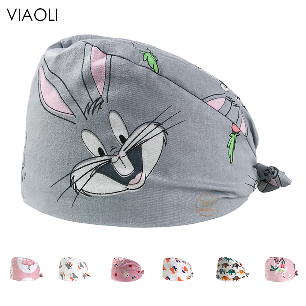 Gray Print Medical Uniform Accessories Surgical Cap Dental Oral Cosmetic Beauty Salon Pet Hospital Food Service Work Hats Unisex