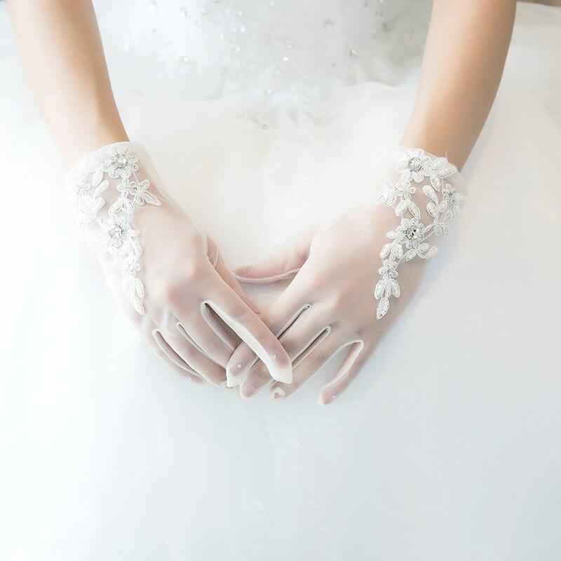 HONGFUYU zarif kısa uzunluk örgün ziyafet parti gelin dantel düğün eldiven gelin eldiven aplikler kristal beyaz 9825-25I