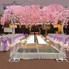 2.6M düğün kemer sahne yol alıntı yapay kiraz ağacı çiçek standı demir kemer çerçeve dekor düğün Backdrop parti sahne otel