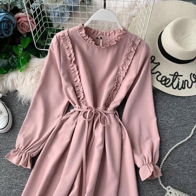 2019 printemps automne nouvelles femmes robe en mousseline de soie femme Vintage ceinture décontractée à manches longues robe Lotus feuille cou a-ligne longues robes