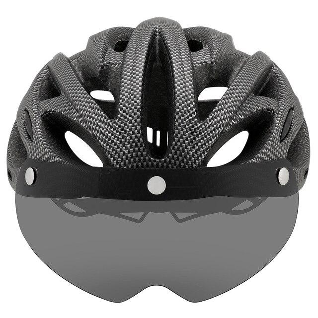 Intergrally-moldado mountain bike capacete com óculos removíveis viseira ajustável das mulheres dos homens bicicleta ciclismo taillight capacete 4