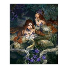 diy oil canvas painting by numbers Marsh Mermaid paint by numbers for adults for home decor