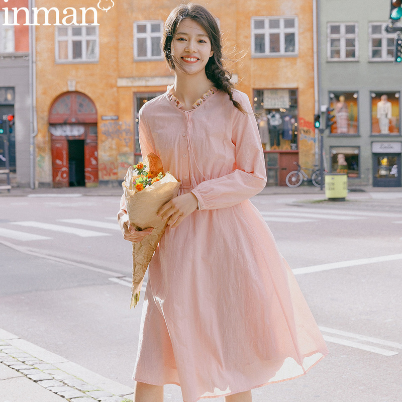 INMAN Long Sleeve Dresses 2020 Spring New Arrival Artsy Retro Vintage Embroidery Shaped Women Sweet Dresses