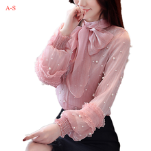 2019 Autumn New bow Beading Chiffon Blouse Female Long-sleeved Wild Lantern Sleeves Shirt