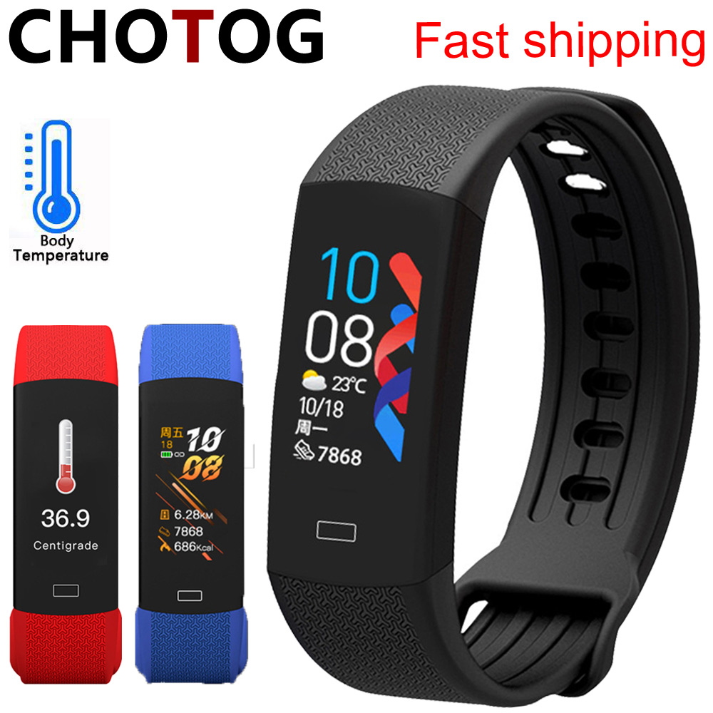 Smart Fitness Bracelet Body Temperature Watch Activity Fitness Tracker Ip67 Waterproof Smart Band Watch Blood Pressure For Sport(China)