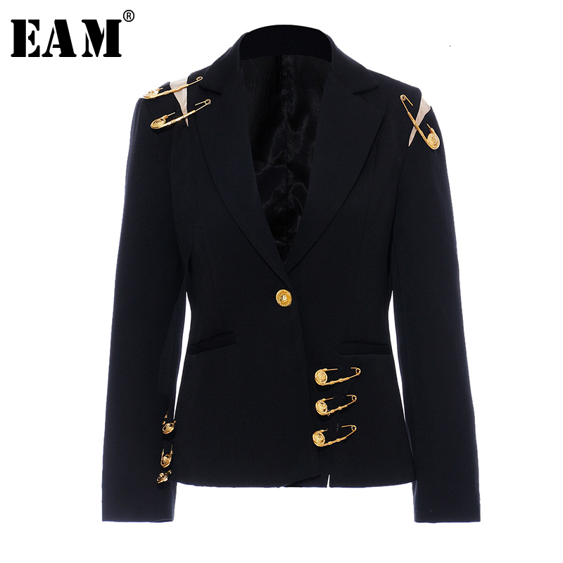 [EAM]  Women Black Mesh Pin Split Temperament Blazer New Lapel Long Sleeve Loose Fit  Jacket Fashion Spring Autumn 2019 1H849