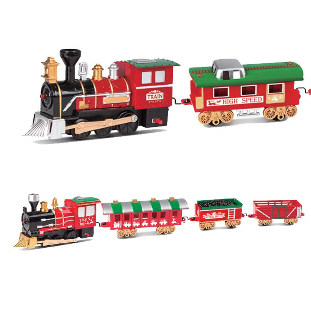 1Set Christmas Electric Track Train Classic Rail Car Compartment Toys With Light Music Function For Kids Children Gifts