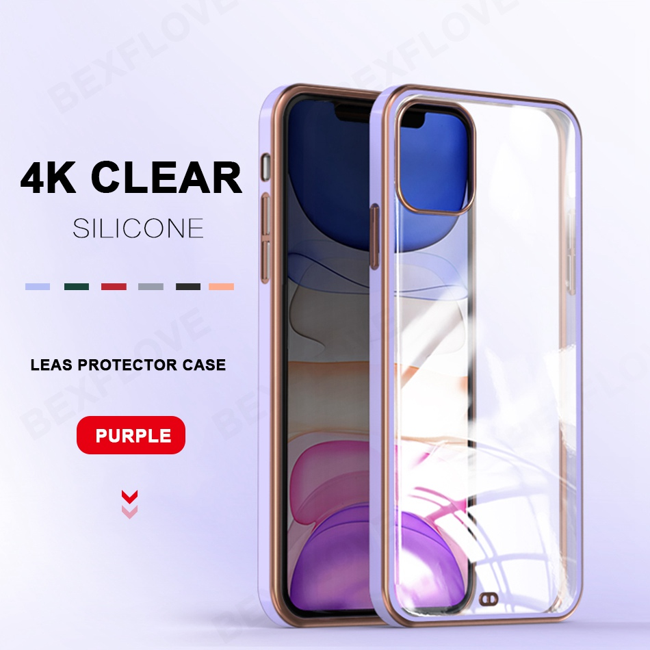 Luxury Phone Case For iPhone 11 Pro XS Max 12 XR X XS 7 8 Plus SE 2020 2 Cases Silicone Transparent Square Plating Clear Cover
