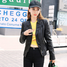 Для фотосессии Женская куртка из искусственной кожи Осень стиль женское платье кожаное пальто короткий корейский стиль стройнящий локомотив St