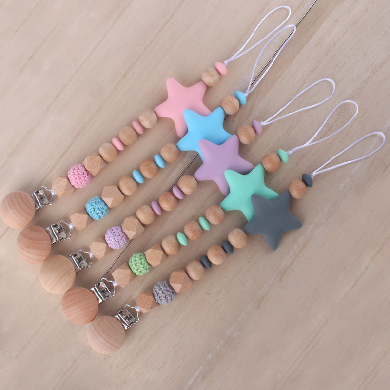 Food Grade Silicone Beads Star Pendant Beech Wooden Pacifier Holder Chain Clip For Baby Newborn Boy Girl