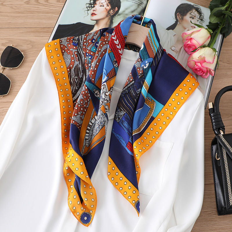 Luxury Women Brand Silk Scarf Square Neck Wraps Foulard Lady Horse Print Retro Neck Kerchief Hand Band Shawls Bandana
