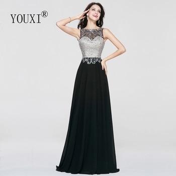Sexy Sheer Neck Floor Length Long Prom Dresses 2019 Black Chiffon Beaded Crystal Formal Evening Gown vestidos de fiesta de noche