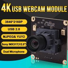Módulo alto da câmera da web da webcam usb2.0 da taxa do quadro do módulo 3840x2160 mjpeg 30fps da câmera 4k mini com nenhuma lente da distorção e mic