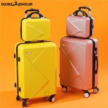 Sac à bagages à roulettes pour femmes, ABS + PC, valise de voyage