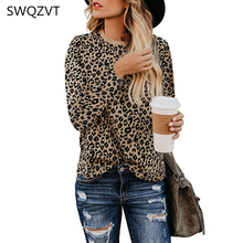 Leopard print women t shirt 2019 autumn winter o-neck women tops casual long sle