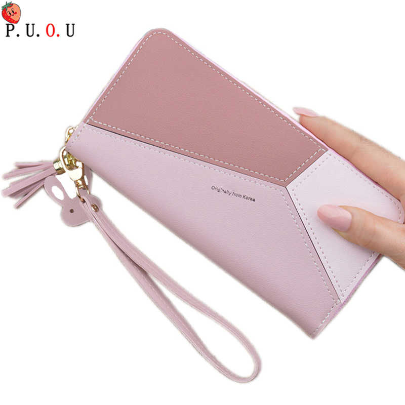 Splice Women Clutch Pink Blue Wallets Phone Pocket Purse Card Holder Patchwork Women Long Wallet Lady Fashion Short Coin Burse 6