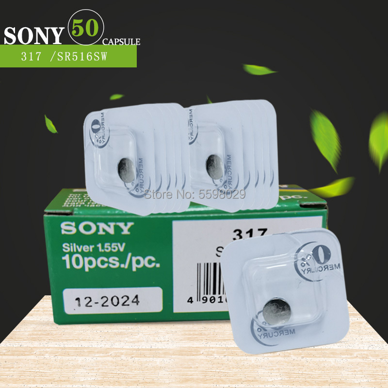 50pcs For Sony Silver Oxide Watch Battery 317 <font><b>SR516SW</b></font> 1.55V for Watch Battery Button Coin Cell image