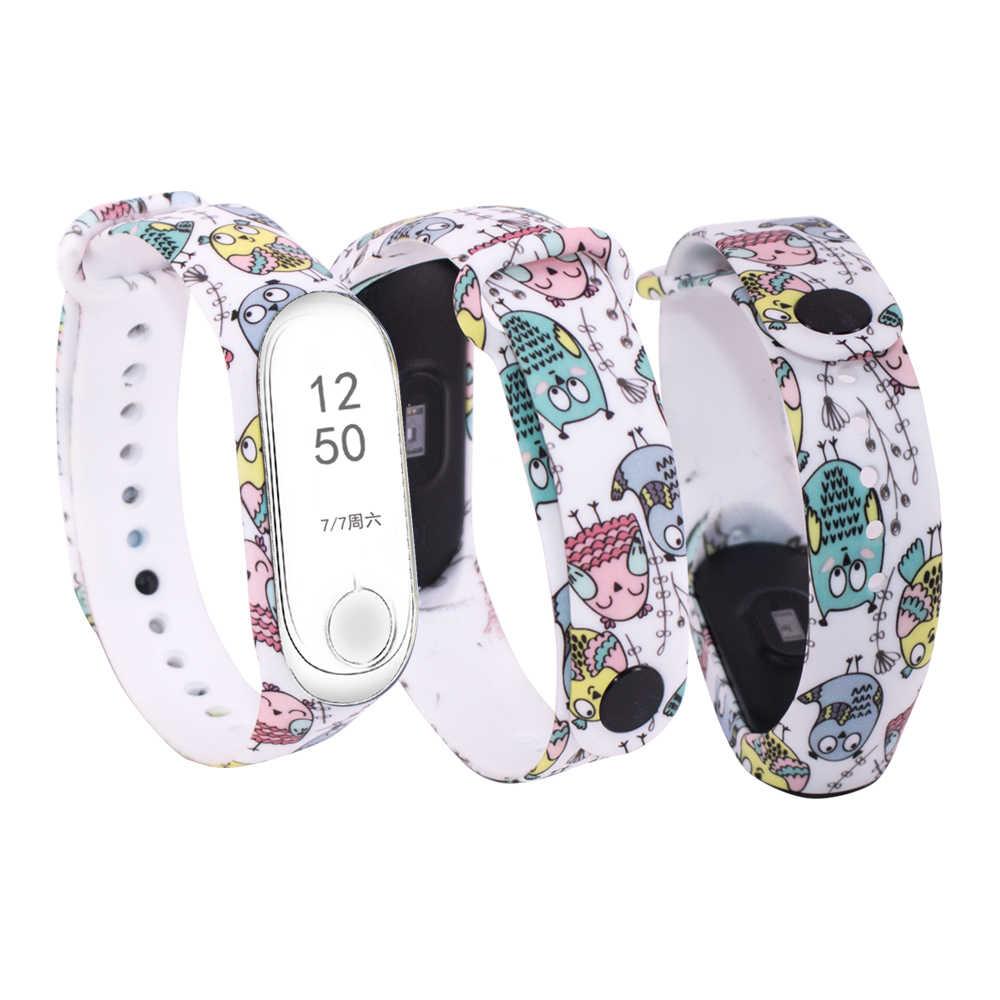 Fleurs colorées pour Xiao mi mi bande 4 Bracelet de remplacement de sangle pour mi bande 3 4 Bracelet en silicone universel pour mi 3 ceinture