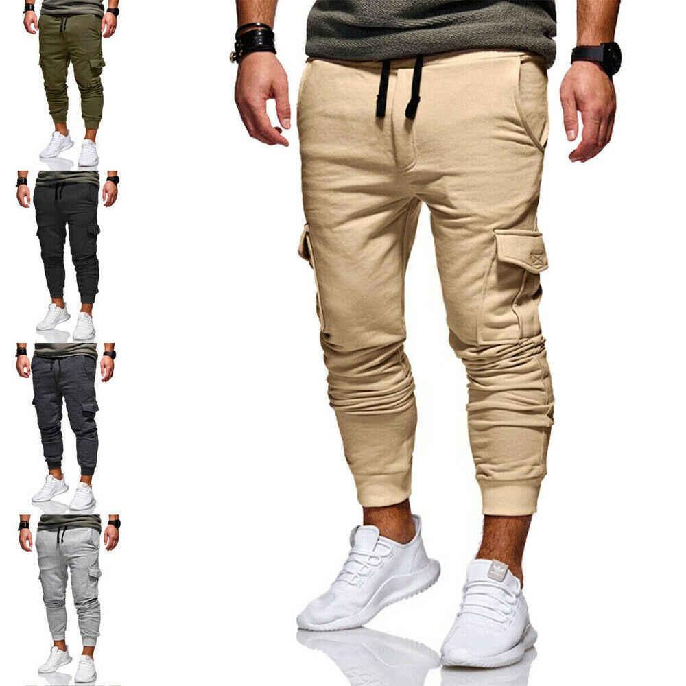 Sıcak Erkek Pantolon Rahat Spor Uzun Cepler İpli Pamuk Eşofman Spor Spor Salonu Egzersiz Joggers Pantolon