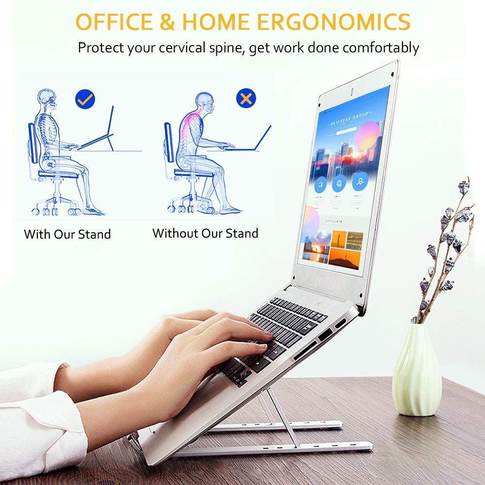 GOOJODOQ Laptop Stand for MacBook Pro Notebook Stand Foldable Aluminium Alloy Tablet Stand Bracket Laptop Holder for Notebook 3