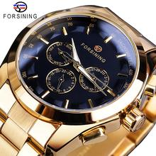 Forsining Black Business Mechanical Men Watch Automatic 3 Sub Dial Date Golden Steel Band Dress Wristwatch Clock Hour Time Reloj цена