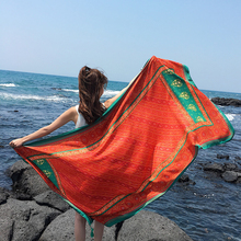 DHL 50PCS Beach Towel Print Scarf big size Cotton linen Women Pareo Cover Up Wrap Sarong Sunscreen Long Cape Female