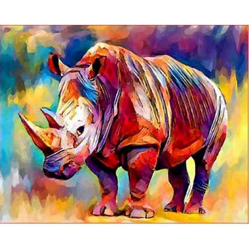 RUOPOTY 60x75cm Frame Diy Painting By Numbers For Adults Diy Gift Coloring By Numbers  Rhinoceros Animals Home Decors Craft Art
