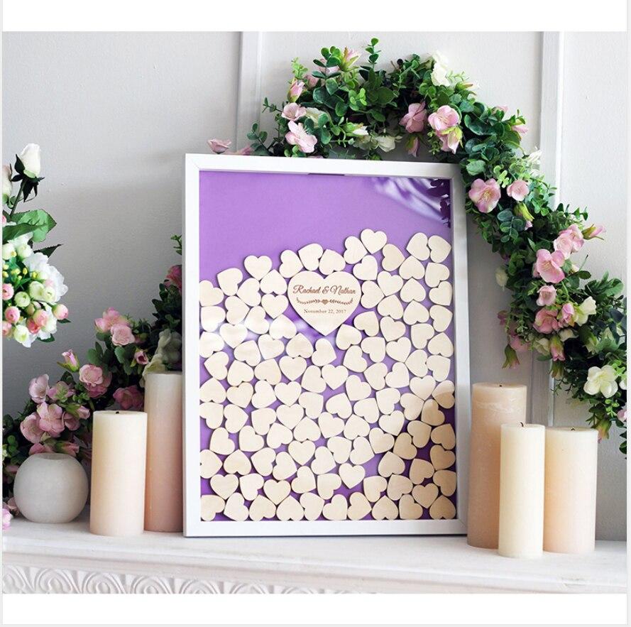 Custom Unique Wedding Guest Book Drop Top Box Personalized Guestbook Ideas Hearts Guest Book Alternative Wood Frame Sign Board Signature Guest Books Aliexpress