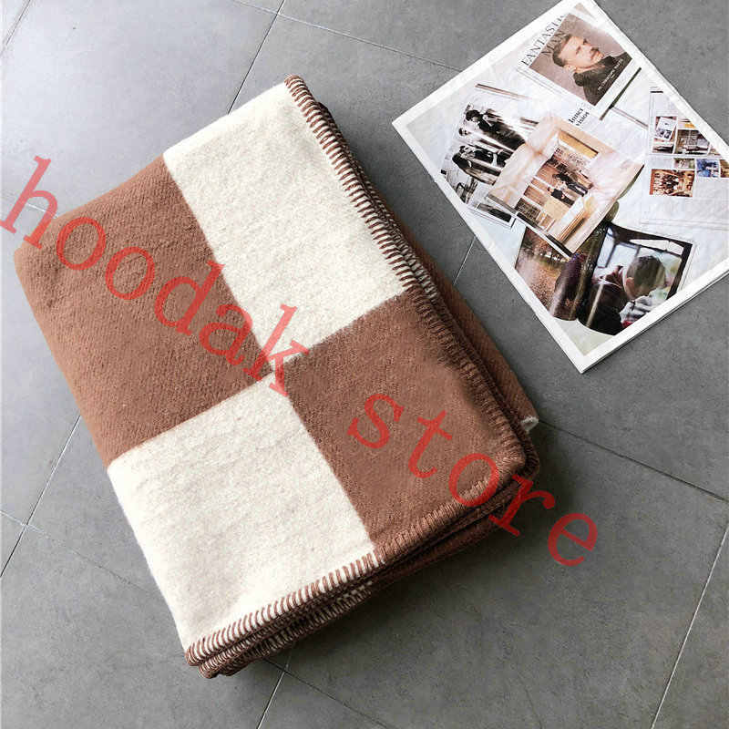 Blanket Fashion Knitted Large Super Soft Flying Thread Throw Wool /& Cashmere Blanket for Adults Yarn Dyed Plaid Blanket,Khaki,130x180cm