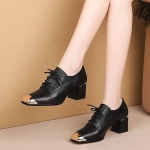 Image 4 - ALLBITEFO natural genuine leather high heel shoes comfortable women heels spring autumn high heels Frenulum office ladies shoes