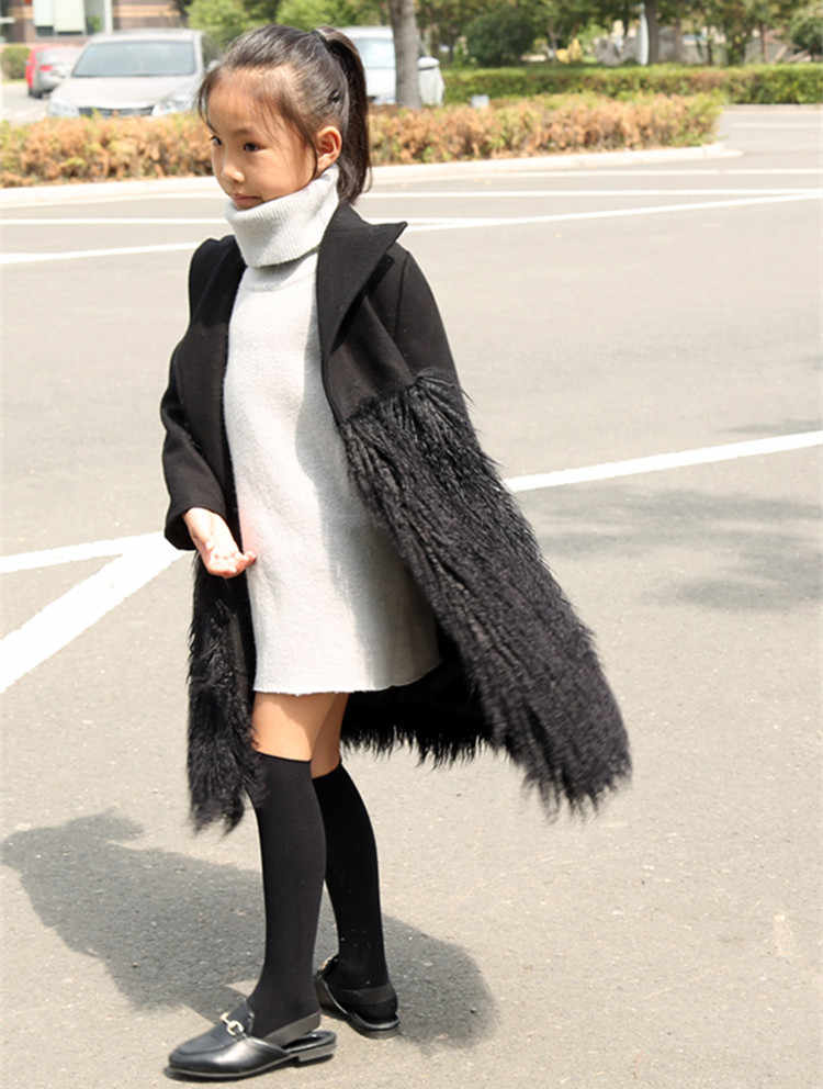 kids Woolen jackets for Girl 2019 winter coat patchwork Faux Sheep Fur Jackets for Girls Wool Coats faux Fur Clothes long style