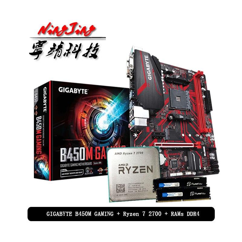 AMD Ryzen 7 2700 R7 2700 CPU +GIGABYTE GA B450M GAMING Motherboard + Pumeitou DDR4 2666MHz RAMs Suit Socket AM4 Without cooler|RAMs| - AliExpress