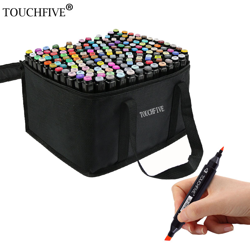 TOUCHFIVE 60 Color Dual Head Art Marker Set Alcohol Sketch Markers Pen For Artist Drawing Manga Water Color Brush