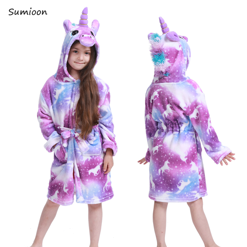 New Winter Big Boys Girls Bath Robe Children Unicorn Hooded Flannel Pajamas Lengthen Bathrobes For Teenage Boy Cartoon Pajamas