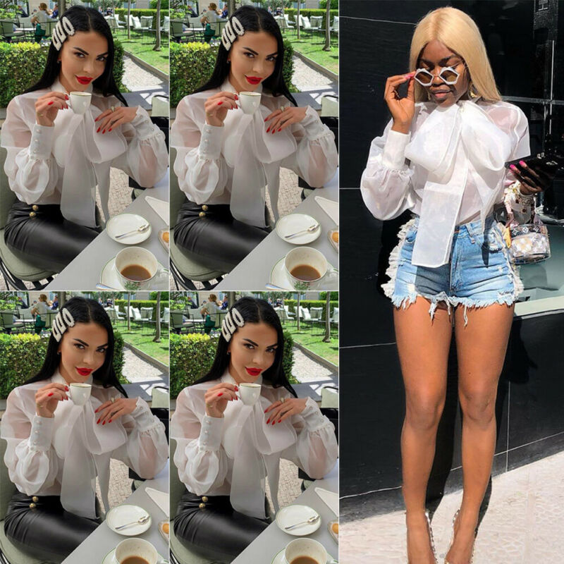 Women Sexy Fashion Long Sleeve Office Lady Chiffon   Blouse     Shirt   Ladies Sexy Bow Translucent Button OL style Tops