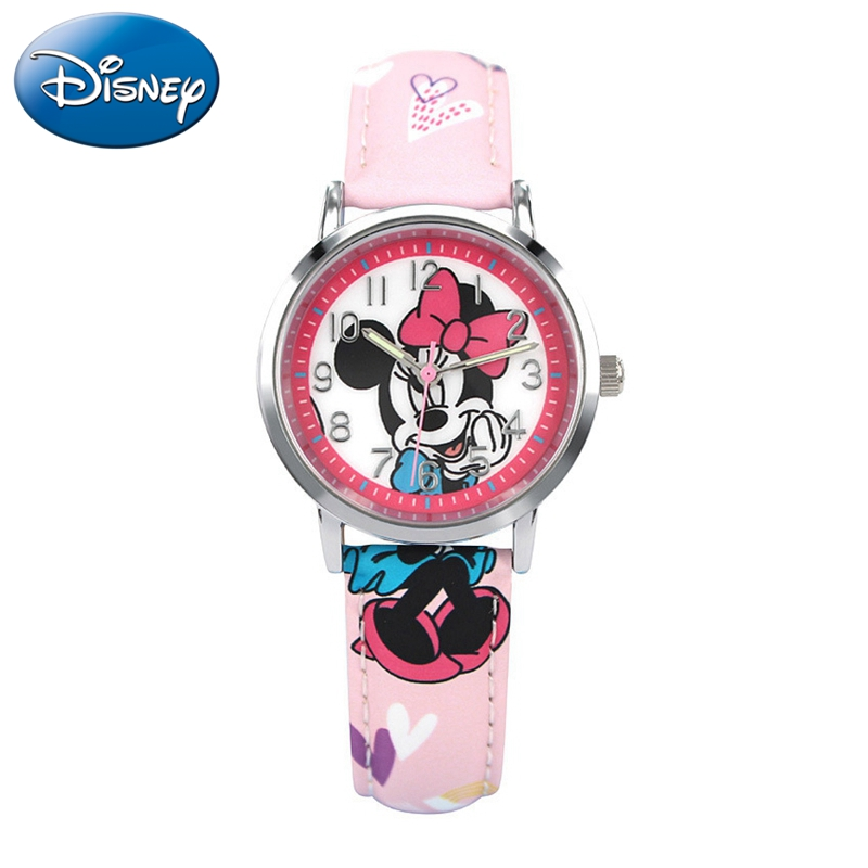 Genuine Disney Brand Mickey Minnie Cartoon Quartz Fashion Child Watches Kid Simple Lovely Watch For Girl Boy Gift Box Time Clock