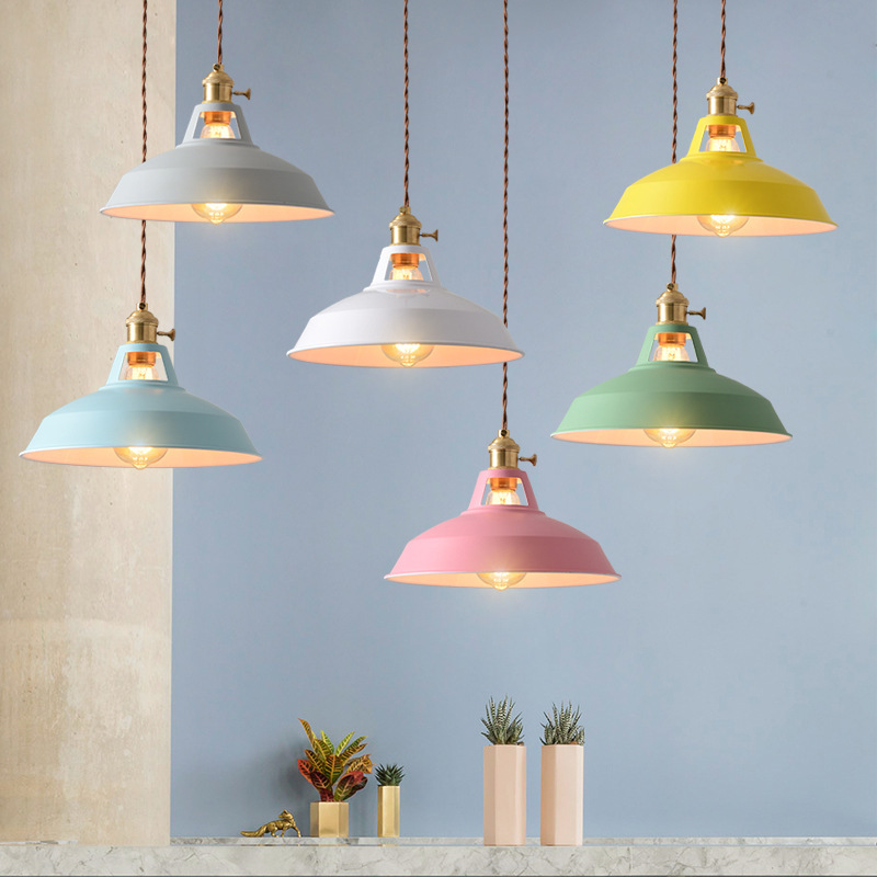 Retro  Industrial style Colorful Restaurant kitchen home lamp Pendant light  Vintage Hanging Light lampshade Decorative lamps 1