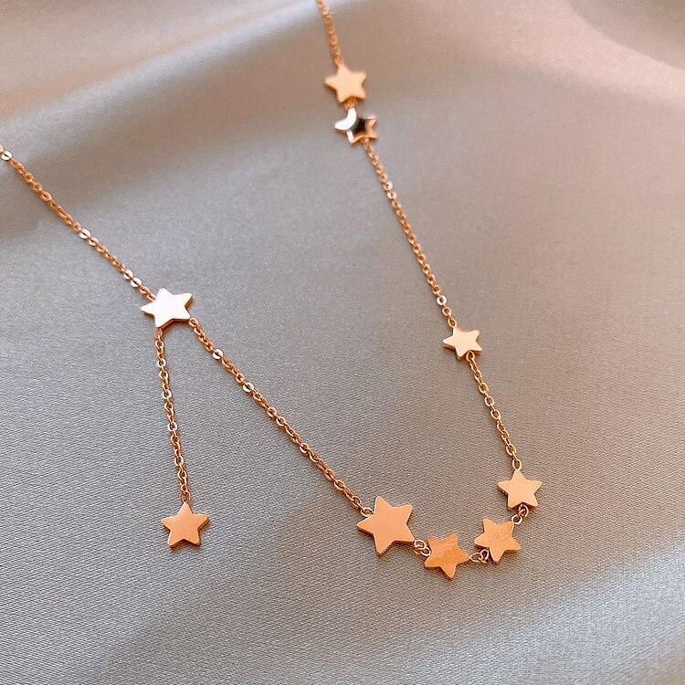 2020 Korean New Design Fashion Jewelry Titanium Steel Star Pentagram Pendant Elegant Female Clavicle Necklace