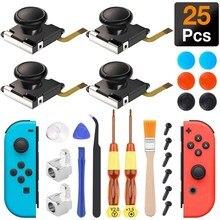 Kit de reparación de palos analógicos 3D, para Nintendo Switch, Joy Con, Con hebillas de Metal, destornillador, Thumbstick, 4 unidades
