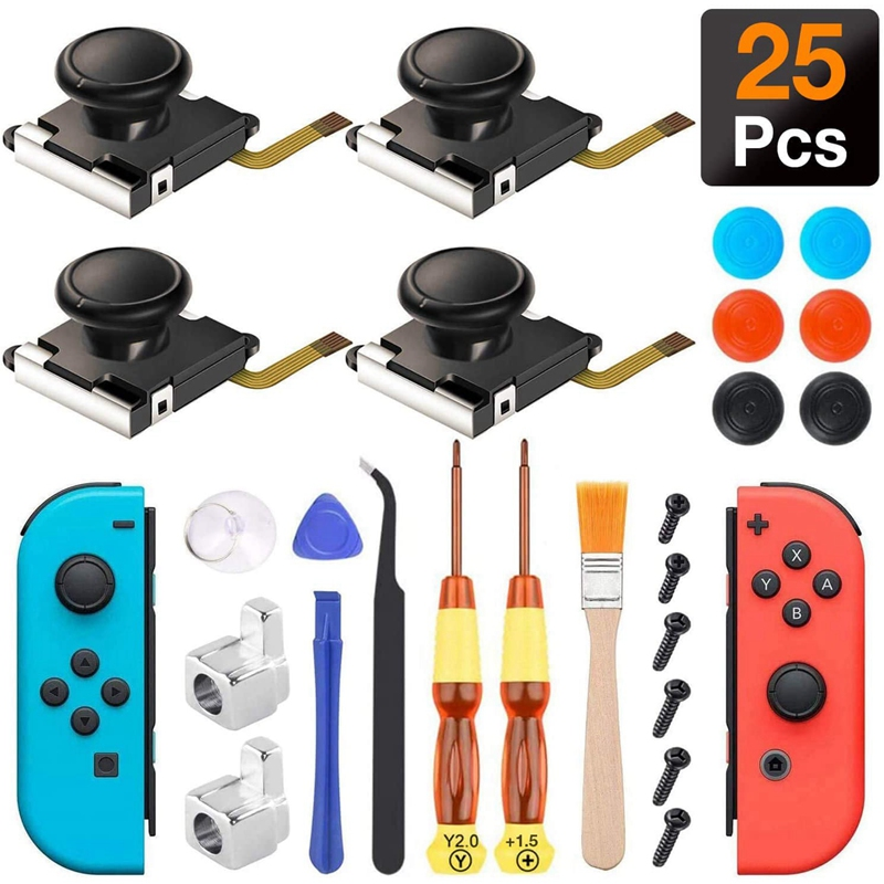 4 Pack  3D Analog Stick Repair Kit for Nintendo Switch Joy Con with Metal Buckles Screwdriver Thumbstick Grips