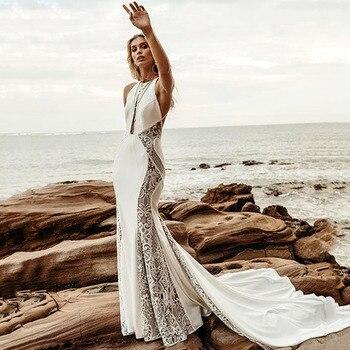 Eightree Lace Mermaid Wedding Dress Bohomian Sleeveless Beach Gowns Illusion Backless Bridal Dresses vestido de noiva
