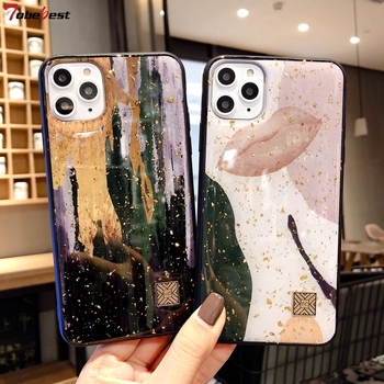 Chic Marble Gold Foil Phone Cases for iPhone 11 Pro Max XS XR X 8 7 Plus 6 6s Case Glitter Soft Silicone Cover for iPhone XS Max 1