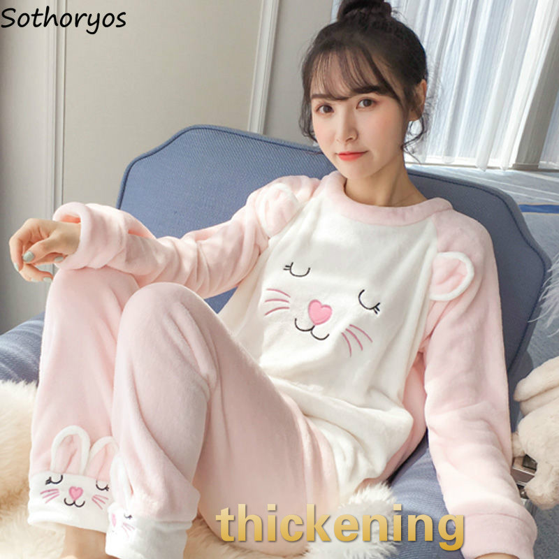 Pajama Sets Women Coral Fleece Thickening Cartoon Printed Kawaii Daily Soft Warm Elegant Leisure Student Korean Style Womens