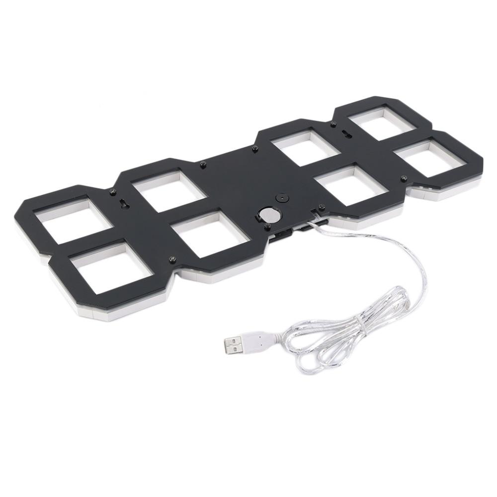 1 шт. большие 3D современные цифровые светодиодный настенные часы 24/12 час дисплей Таймер Будильник - 5