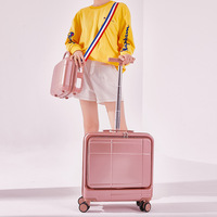 Gepäck set 18 zoll Reise koffer spinner räder mit laptop tasche mode tragen ons trolley gepäck tasche Kabine koffer set fall